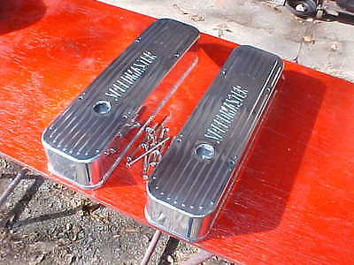 tall RIBBED polished aluminum fabricated valve covers,chevy SBC,rat rod,283/350