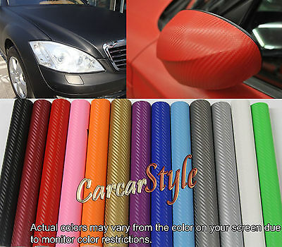 3D Carbon Fibre Vinyl 400mm(15.7in)x1520mm(59.8in) Wrap Film Sticker Bubble Free