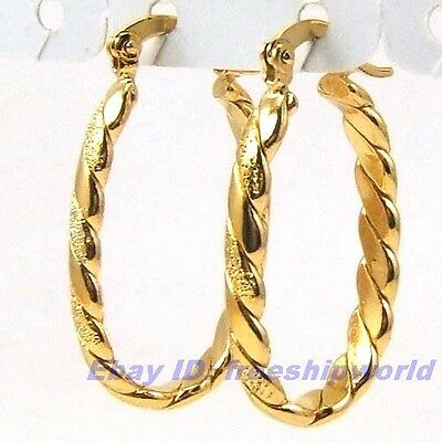 """3pair Wholesale 1.2"""" REAL POSH 18K YELLOW GOLD GP HOOP EARRINGS FROSTED SOLID"""