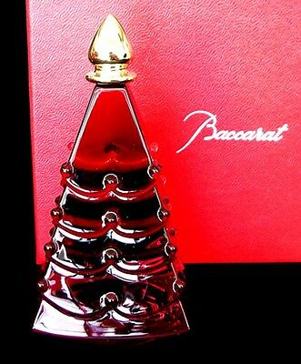 """$480 BACCARAT Crystal NOEL RUSSIAN RED Christmas 4""""x3"""" Tree  2601460 MINT IN BOX"""