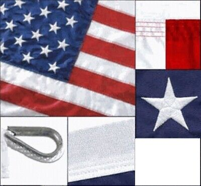 8x12 ft AMERICAN US FLAG Heavy Duty 2 Ply Polyester Sewn Stars Stripes USA Made