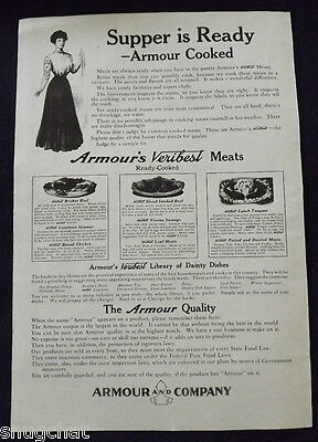 Vintage Ephemera Collectible Ad 1908 ARMOUR'S VERIBEST MEATS ARMOUR AND COMPANY