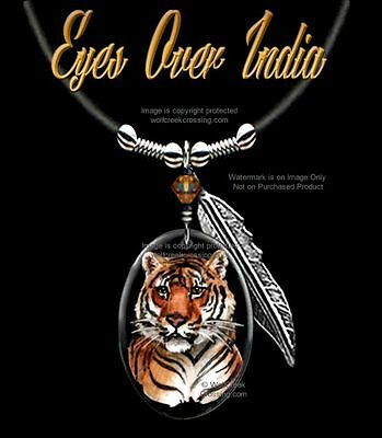 """Bengal Tiger Necklace - Wild Cat Wildlife Art - 24"""" Leather- Jewelry Free Ship *"""