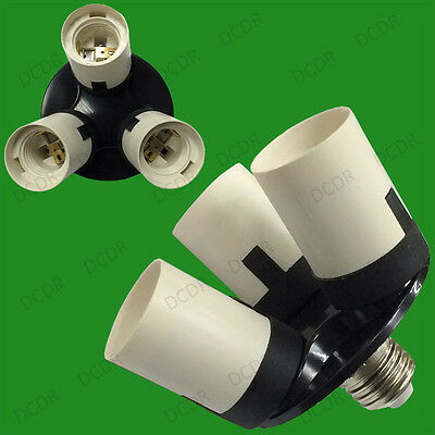 1x E27 to 3E27 Light Bulb Socket Splitter Adaptor Photography Lamp Base UK Stock