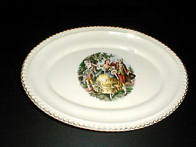 """Harker Pottery GODEY PRINT Colonial Couple Quadrille 11-3/4"""" Platter"""