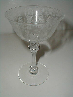 Tiffin Glass Crystal JUNE NIGHT Etched Champagne/Tall Sherbet Goblet