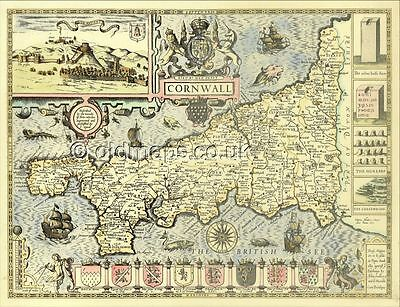 Cornwall Replica Old map aft. J. Speed c.1610. 100% Hand Coloured. A UNIQUE GIFT
