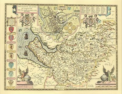 Cheshire / Chester map ALL HAND COLOURED Framed 17c. Replica John Speed A GIFT