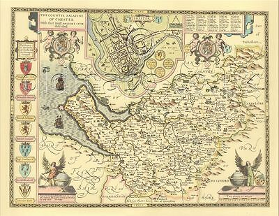 Chester / Cheshire J Speed Old Replica Map  c.1610 ALL HAND COLOURED Unique GIFT