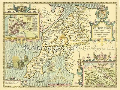 Caernarvon Replica J Speed Map Old  c1610 A Unique Welsh Gift ALL HAND COLOURED