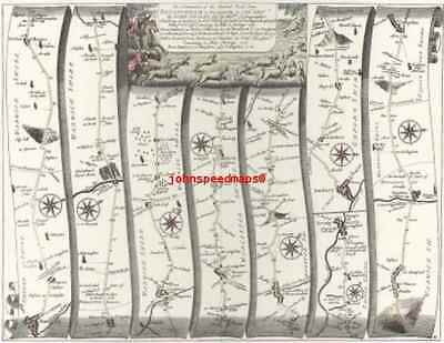 Banbury to Bridgnorth inc.Chipping Campden  Replica 17c OGILBY Old Road Map