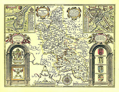 Denbighshire map Replica Old John Speed 17c 1610 ALL Hand Coloured UNIQUE GIFT