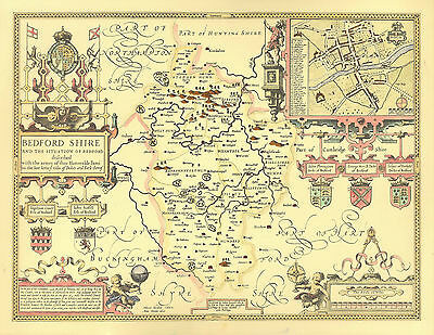 Bedfordshire Bedford map John Speed Replica 1610. ALL Hand coloured UNIQUE GIFT