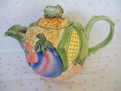 "Fitz and Floyd Colorful "" Vegetable Garden"" 6 cup Teapot"