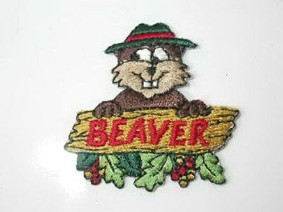 Beaver Character Holding Sign Iron On Patch 1.63
