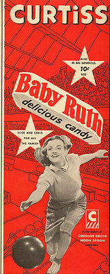 1941 vintage Ad, Curtiss Baby Ruth Candy Bars, Lady Bowler  112713