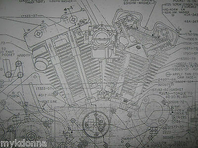 HARLEY DAVIDSON XL Sportster Engine Blueprint poster print showing parts Drawing