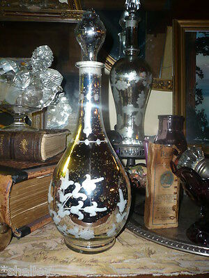 Antique style Mercury Glass Decanter Apothecary Bottle Seashell Stopper