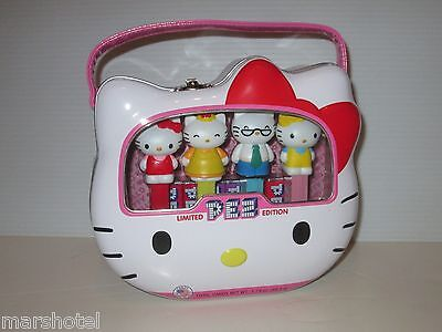 Sanrio Hello Kitty Pez Candy Dispensers Set/4 Lunchbox Tin Face Shaped & Handle