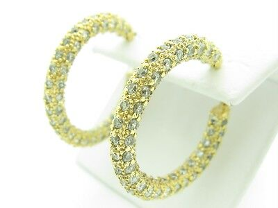 18KT GOLD SILVER UNIQUE DIAMOND SET WHITE SAPPHIRE PAVE INSIDE OUT HOOP EARRINGS
