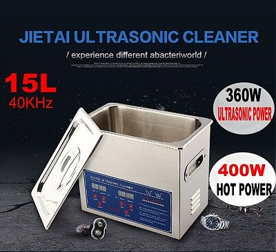 Digital Ultrasonic Cleaner 15L Bath Tank Timer Heated Unit Cleaning Machine -AU