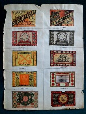 Lot de 10 étiquettes anciennes allumettes Japon Match box labels of Japan Rare