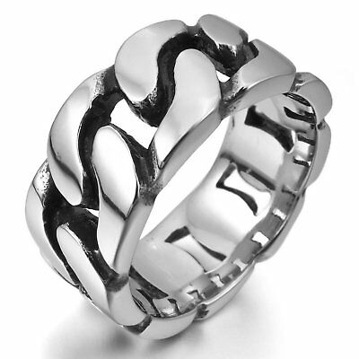 MENDINO Men's 316L Stainless Steel Ring Classic Band Curb Chain Polished Silver