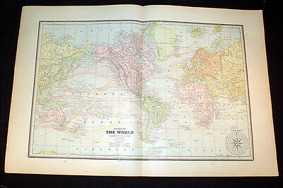 Antique 1891 Map Chart Of The World OR Annual Products & Eastern Hemisphere