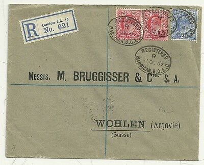 1907 REGISTERED BARBICAN LONDON EC18 TO WOHLEN SWITZERLAND 4½d POSTAGE RATE