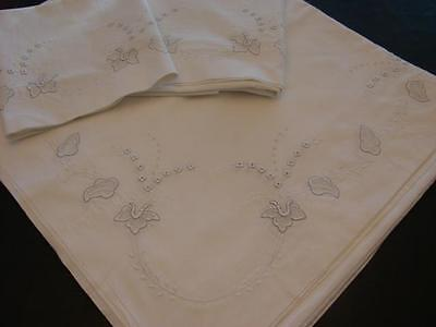 """Vintage Cotton Sheet 2 Pillowcases Appenzell Type Embroidery 86X88"""" Exc"""