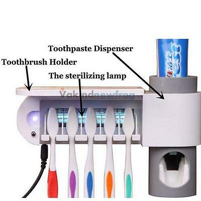 Wall Mounted Toothpaste Dispenser Uv Light Automatic W/ Toothbrush Holder Set