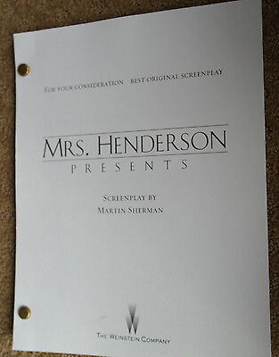 MRS. HENDERSON PRESENTS FYC For Your screenplay script SIGNED MARTIN SHERMAN