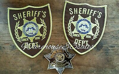 The Walking Dead King County Georgia Sheriff's Dept Badge & Two Patch Set