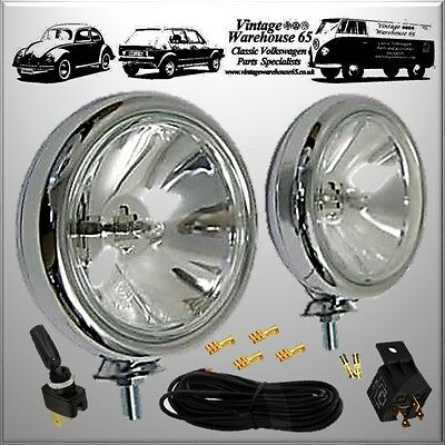 Ford Classic Vintage Chrome Spot Lights Fog Lamps & Relay Switch Wiring Kit