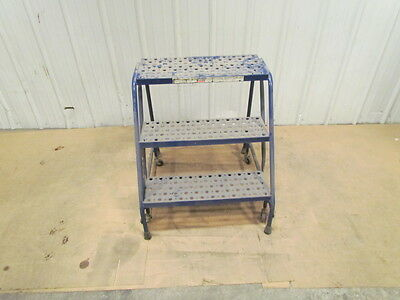 "Louisville 3 Step Rolling Safety Ladder 24""Wide 29""Tall Warehouse"