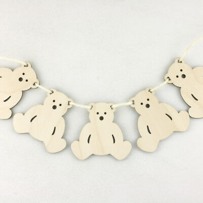 Wooden DITSY Flower Bunting Wall Garland Birch Blank Decoration Craft Shape x10