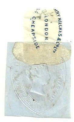 Qv 11/2D Cut Out Die With Printed Stamp Hinge Harry Hilckes & Co Ltd London 1884