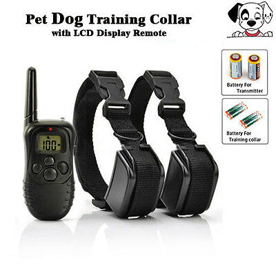 300M LCD 100LV Shock Vibra Remote Pet Dog Training Collar For 2 Dog With Remote