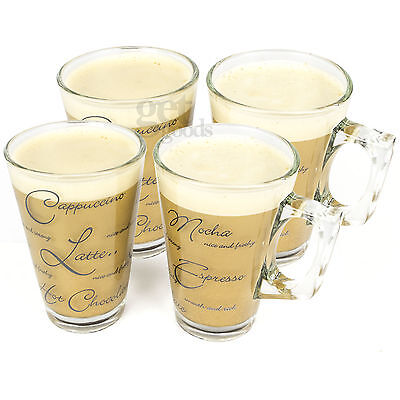 Set Of 4 Script Latte Glasses Small Cappuccino Tea Irish Coffee Glass Cups Mugs