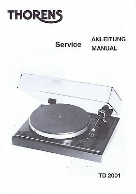 Rare Vintage Nos Service Manual For Thorens Td 2001