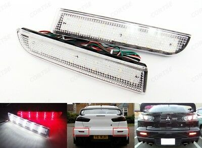 2x Clear Bumper Reflector Rear LED Reverse Brake Light 08+ Mitsubishi Lancer Evo