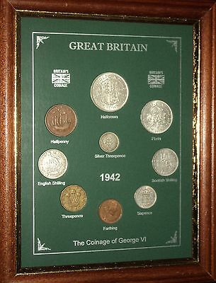 FRAMED 1942 COIN YEAR SET (RETRO 75th BIRTHDAY PRESENT WEDDING ANNIVERSARY GIFT)