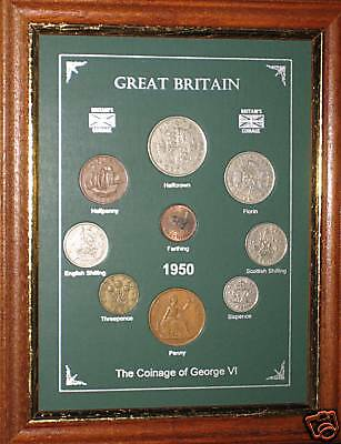 FRAMED 1950 COIN BIRTH YEAR GIFT SET VINTAGE 66th BIRTHDAY PRESENT (Rare Penny)