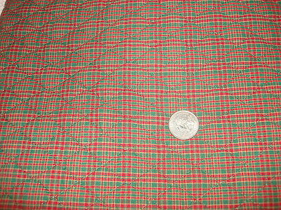 "Vintage PLAID QUILTED FABRIC Scrappy Plaid, Red Green Brown,1 Yd/44"" Wide"