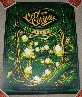 CITY AND COLOUR & concert gig tour poster PHILADELPHIA Dec 2011 Green munk one
