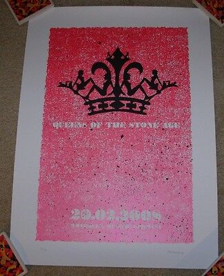 QUEENS OF THE STONE AGE concert gig poster MUNICH 2-20-08 2008 strawberryluna