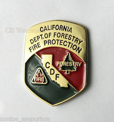 US FIRE FIGHTER CALIFORNIA FORESTRY FIRE PROTECTION LAPEL PIN BADGE 1 INCH
