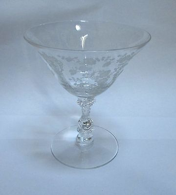 "Cambridge Clear Crystal Rose Point Rosepoint Sherbet Glass 4 3/4""   Stem 3121"