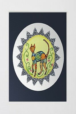 Signed Matted Art Print Painting Funky Cat Mandala Hippie Celtic Knot A4 8x12""