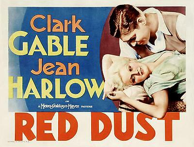 CLARK GABLE caresses JEAN HARLOW * RED DUST * very sexy image * 11x14 print 1932